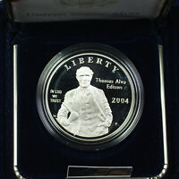 2004-P Thomas Alva Edison Proof Silver Dollar $1 Commemorative Coin US Mint