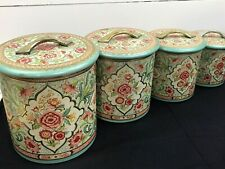 Vintage Floral Embossed Kitchen Tin Canisters (4) ~ Made in Holland ~ Nesting