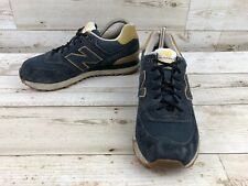 New Balance 574 Navy Suede Leather Athletic Shoes Men's Size 8 Sneakers ML574WKN
