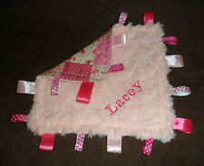 PERSONALISED PINK PATCHWORK BABY TAGGY BLANKET COMFORT COMFORTER GIFT MANY SIZES