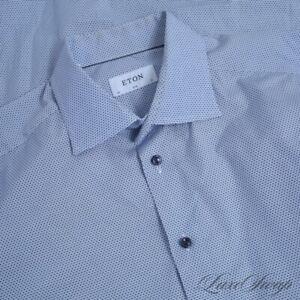 LNWOT Eton of Sweden RECENT Slim Sky Blue Web Bubbles Button Down Shirt 17 NR #1
