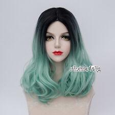 Fashion Black Mixed Light Green Lolita Lady 40CM Short Wavy Hair Cosplay Wig