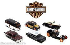 MAISTO HARLEY DAVIDSON SET OF 6 VW BEETLE FORD CHEVY HOT 1/64RODS CUSTOM 15380