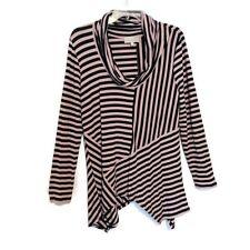 Joan Vass Tunic Size Large Striped Asymmetric Hem Cowl Neck Stretch Long Sleeve