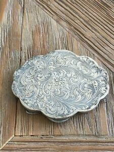 Antique Silver Etched Compact with Floral Etching