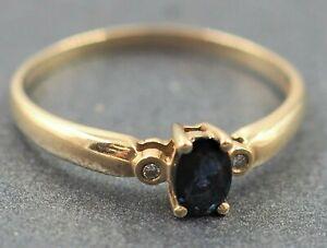 Womens Ring 9ct Gold Sapphire & Diamond Engagement Wedding Dress Vintage