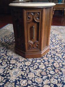 Antique Round Marble Top Cylinder Cabinet Furniture Vintage Rare Unique