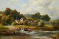 Giclee Canvas Print Old village Landscape Oil painting Printed on Canvas P1072