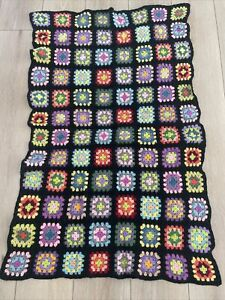"""Vintage Hand Made Crochet Knit Granny Square Afghan Throw Lap Blanket 55"""" X 34"""""""