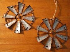 "Set of 2 Amish Windmill Vintage Rustic Country Primitive Farm Farmhouse Decor 8"""