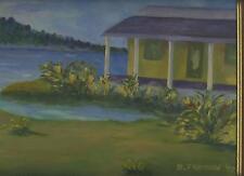 PURPLE YELLOW HOUSE COTTAGE YELLOW IRIS FLOWER GARDEN POND LANDSCAPE PAINTING