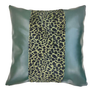 Pff03a-Green Black Leopard Faux leather skin pillow case Cover custom size