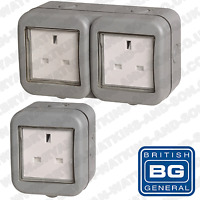 BG Weatherproof IP55 13Amp Unswitched 2 or 1 Gang Outdoor Socket with Cover