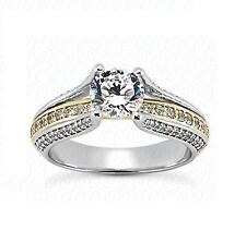 14k White and Yellow Gold Excellent Cut Diamond Engagement Ring Setting Jewelry