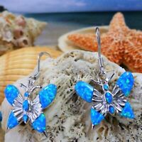 HIGH POLISHED REAL STERLING SILVER/ BLUE OPAL BUTTERFLY DANGLE WIRE EARRINGS