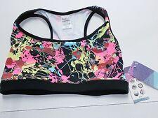 Dona Jo Fitwear JOJO Sports Bra SZ 2 10 12 14 Paint Splatter NWT Neon Pink Lime