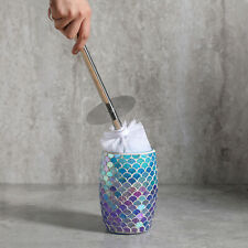 Blue Mosaic Toilet Brush Set w Bowl Brush & Glass Holder - Bathroom Accessories