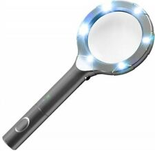 6 LED Magnifying Glass Reading Scratch Resistant Non Slip Hand-held Illumine New