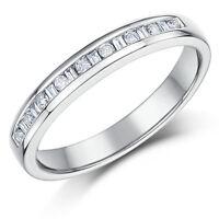 18 Ct Oro Blanco 3mm Corte Princesa 0.25 Quilate Eternidad Anillo Con Diamante