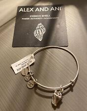 NWT & Box Alex and Ani Conch Shell Silver Charm Bangle Bracelet