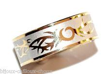 Bague anneau homme femme acier doré et argenté T 56 tribal bijou ring