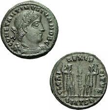 Constantin II Follis Thessalonica 336/7 GLORIA EXERCITVS Soldaten RIC 223 /2  R1