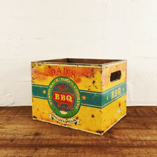Dads BBQ Box Retro Wooden Crate Tools Beer Utensils Storage Tub Rectangle Box