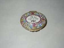 """Halcyon Days Enamel Oval Box """"The best is yet to come"""" Floral Design"""
