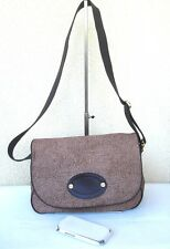 SAC BANDOULIERE BORBONESE REDWALL LUXE ITALIEN TOILE CUIR MARRON - VOYAGE - TTBE