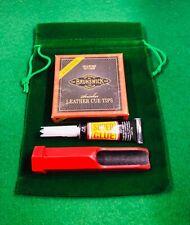 Snooker Cue Re-Tipping Kit - Green Velvet Bag, Sander, Glue, Tips