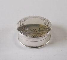 STERLING SILVER 925 PILL TRINKET BOX ENGRAVED ROUND CG LTD