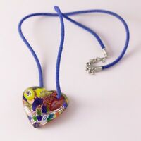 Colorful Hand Blown Artisan Dichroic Glass Heart Cord Pendant Necklace