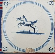 Antique Dutch Delft Blue White Dog Bird/Animal Circle Tile 17th C Spider Corners
