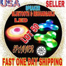 LOT OF 50 X Bluetooth Speaker LED TRI SPINNER FIDGET Lot,RECHARGABLE,LED,SPEAKER