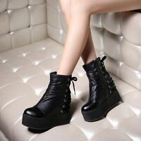 Womens Punk Wedge Heels Side Zip Lace Up Platform Gothic Ankle Boots Shoes Size