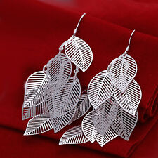 925 Sterling Silver Chandelier Leaves Bali Hoop Pierced Earrings L155