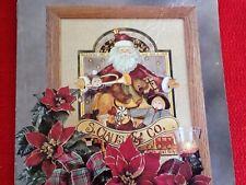 Solid Oak Framed Santa Toymaker Print Vintage Home Interiors Gifts Gtc
