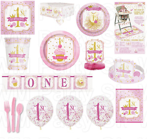 Baby Girls 1st Birthday Party Tableware Decorations Supplies Pink First Plates