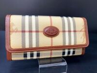 Burberry Nova Check Beige PVC Leather Long Bifold Wallet Purse Italy A-1185