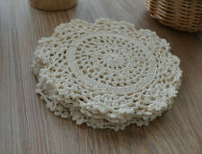 "Lot 10 Crochet 6"" Round Doilies French Country Vintage Ecru Ornaments Coasters"