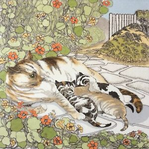 Cat Etching SUZAN TATHAM, Garden Gate, Hand Coloured, Signed & Numbered