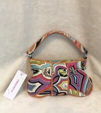 EMILIO PUCCI Orange Multicolor Silver PUCCI CHARM 100% Silk Handbag Evening Bag
