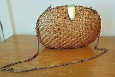 Vintage Willow Basket Purse Shoulder Bag Chain Strap Oval Brown Woven Boho Hippy