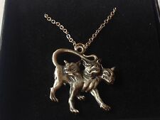 "Cerberus code dr90 In Greek Made From Pewter On 16"" Silver Plated Curb Necklace"