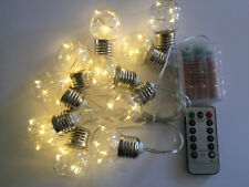 10 Bulb 40LED E27 Style Clear Round 2m Battery String Light+Remote+Timer+8 mode