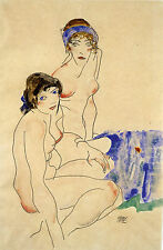 Egon Schiele Reproductions: Two Female Nudes by the Water - Fine Art Print