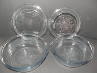 VINTAGE LOT OF 2 FIRE KING WARE MIXING-SERVING BOWLS &  LIDS  SNOWFLAKES DESIGN
