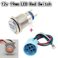 12V Red LED Momentary ENGINE START Metal Switch 19mm Push Button Lighted Socket