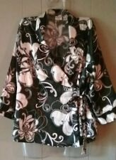 Cato 14/16 W Black White Wrap Top Satiny Floral Tie Side Blouse 3/4 Sleeves VGUC