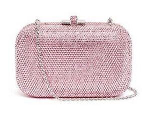 Judith Leiber Blush Pink Slide Lock Evening Bag Silver Crystals Purse NEW